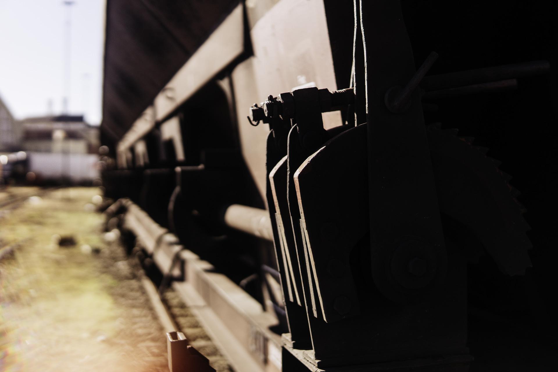 Closeup von Metall teilen eines Bahnwaggons in München
