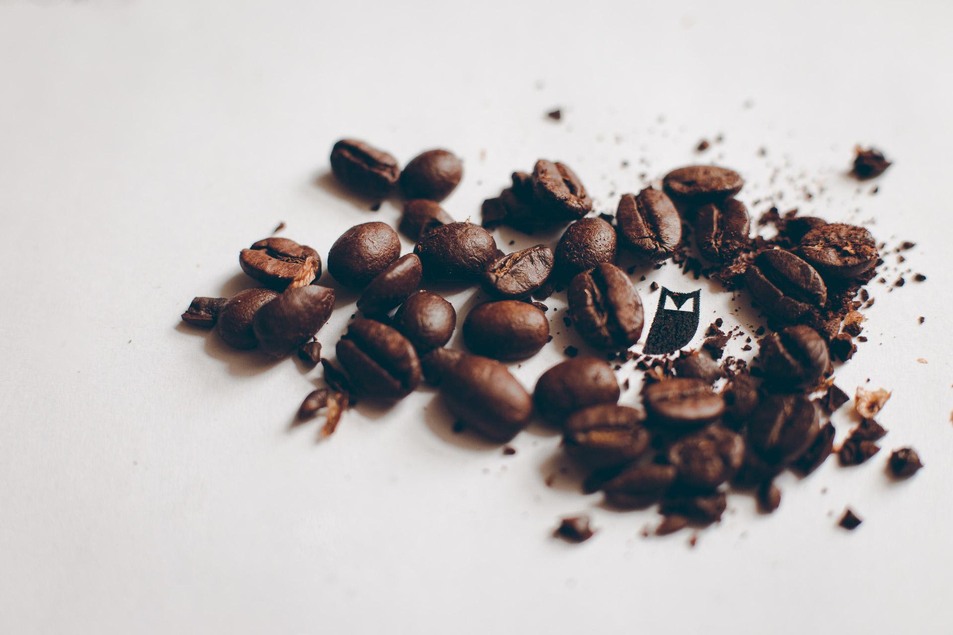 Produktfoto Nahaufnahme von Kaffeebohnen auf dem Scrowl Logo