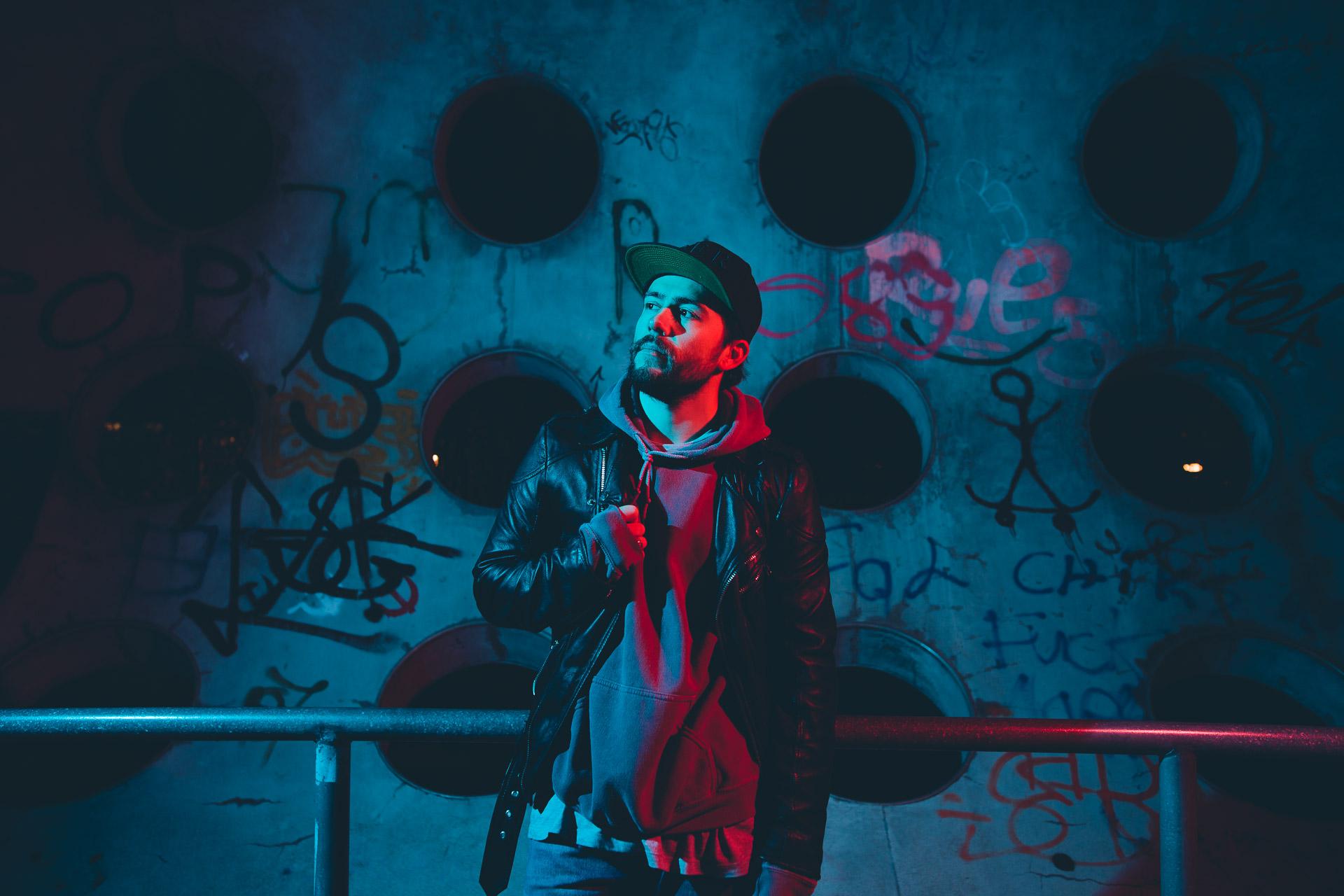 Neon Portrait Shooting im Skatepark Hirschgarten in München
